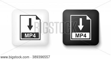 Black And White Mp4 File Document Icon. Download Mp4 Button Icon Isolated On White Background. Squar
