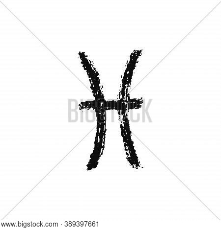 Vector Zodiac Sign. Pisces Handdrawing By Paint Brush. Horoscope Isolated Logo For 2021. Black Illus