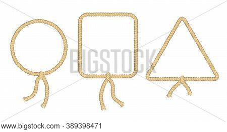 Ropes. Curved Nautical Ropes With Knots Vector Template. Round, Trinagle And Square Rope Frames, Cor