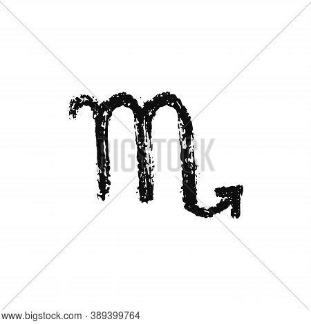 Vector Zodiac Sign. Scorpio Handdrawing By Paint Brush. Horoscope Isolated Logo For 2021. Black Illu