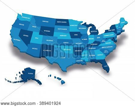 Map Of United States Of America, Usa, With State Postal Abbreviations. 3d Vector Map With Dropped Sh