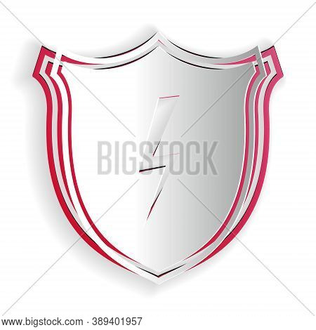 Paper Cut Secure Shield With Lightning Icon Isolated On White Background. Security, Safety, Protecti