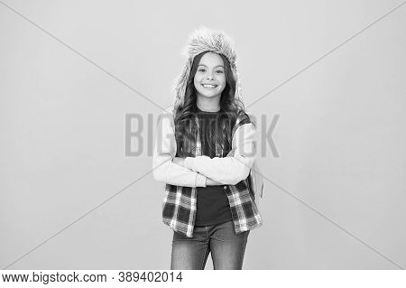 Kid Girl Wear Hat With Ear Flaps. Winter Events At School. Winter Entertainment And Activities. Chil
