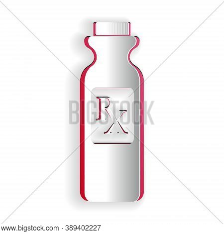Paper Cut Pill Bottle With Rx Sign And Pills Icon Isolated On White Background. Pharmacy Design. Rx