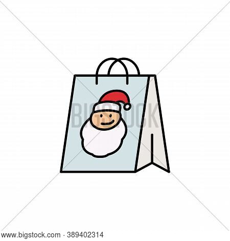 Bag, Shopping, Christmas, Santa Claus Line Icon. Elements Of New Year, Christmas Illustration. Premi