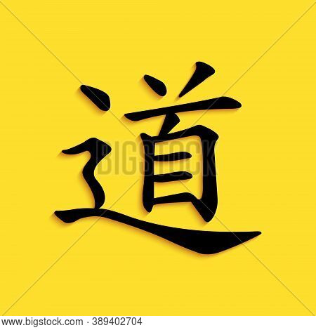 Black Chinese Calligraphy, Translation Dao, Tao, Taoism Icon Isolated On Yellow Background. Long Sha