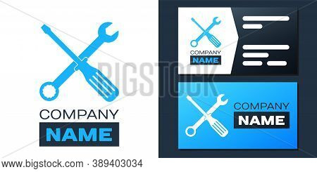 Logotype Spanner And Screwdriver Tools Icon Isolated On White Background. Service Tool Symbol. Logo