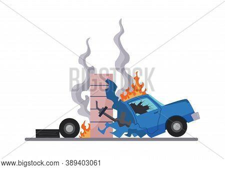 Accident On Road Car Damaged. Road Accident Icon. Car Crash Symbol. Damaged Vehicle Insurance. Damag