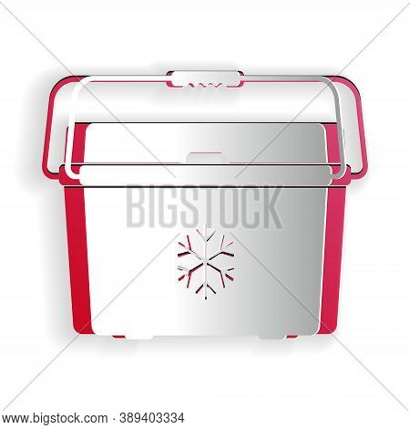 Paper Cut Cooler Bag Icon Isolated On White Background. Portable Freezer Bag. Handheld Refrigerator.