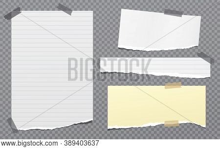 Set Of Torn White, Yellow Note, Notebook Paper Strips And Pieces Stuck On Transparent, Squared Backg