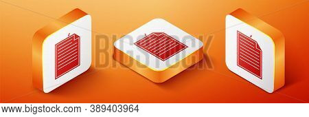 Isometric Note Paper With Pinned Pushbutton Icon Isolated On Orange Background. Memo Paper Sign. Ora