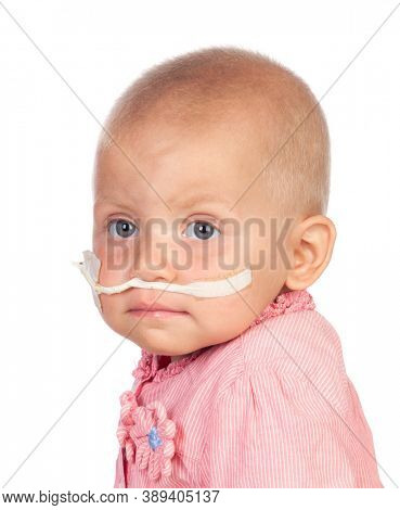 Adorable baby beating the disease. Childhood, healthcare.