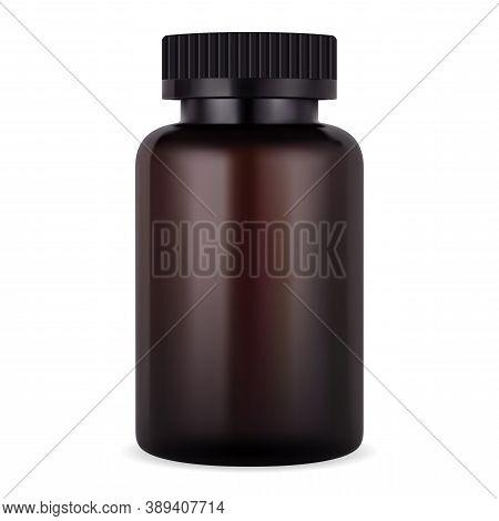 Amber Supplement Bottle. Brown Jar For Pill Or Tablet. Realistic Plastic Medicine Package Mockup. Ph
