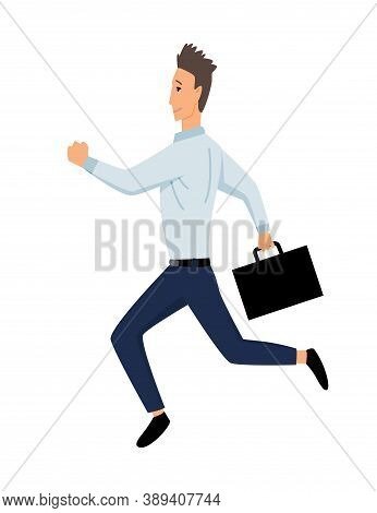 Jumping Business People. Business Man Jumps With Bag On A White Background. Vector Illustration Of A