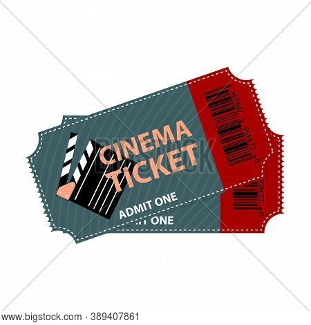 Cinema Ticket Isolated. Movie Coupon Design Concept. Vector Illustration Of Two Entrance Access Sign