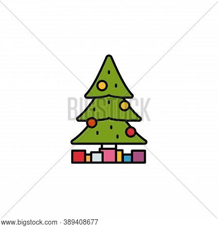 Christmas, Tree, Presents Line Icon. Elements Of New Year, Christmas Illustration. Premium Quality G