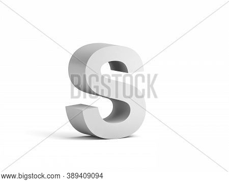 White Bold Letter S Isolated On White Background With Soft Shadow, 3d Rendering Illustration