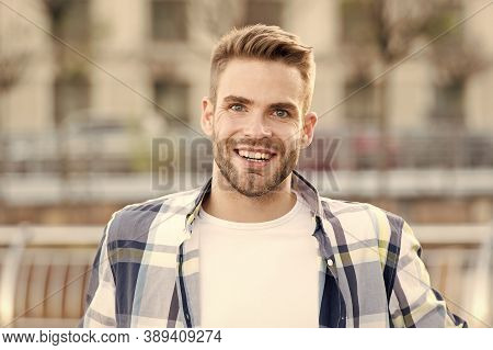 Just Happy. Handsome Male Portrait. Facial Hair And Skin Care Concept. Handsome Face. Handsome Man U