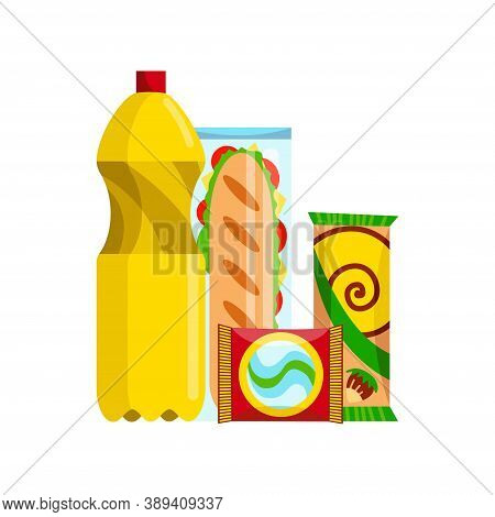 Snack Product Set. Fast Food Snacks Drinks And Sandwich Isolated On White Background. Classic Fast F
