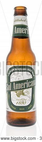 Winneconne, Wi - 6 October 2020:  A Bottle Sul Americana Beer On An Isolated Background.