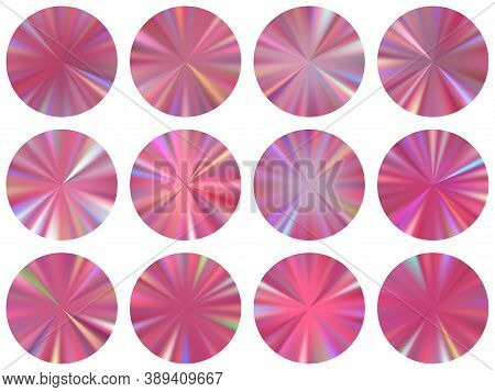 Rose Gold Round Metallic Gradient Web Elements Vector Set. Isolated Modern Medal Shapes. Banner Meta