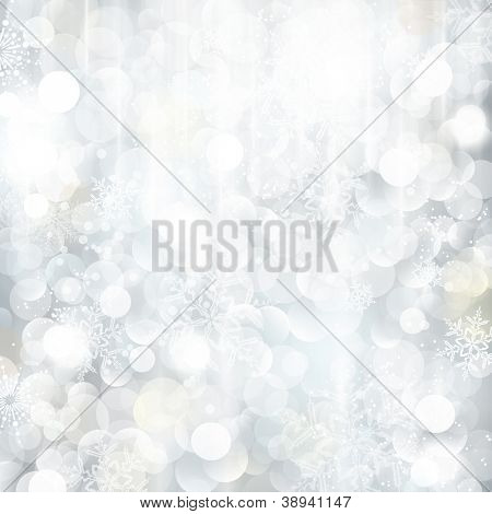 Bright and festive silver background with snow flakes, stars and bokeh lights. Beautiful template for Christmas and winter cards.