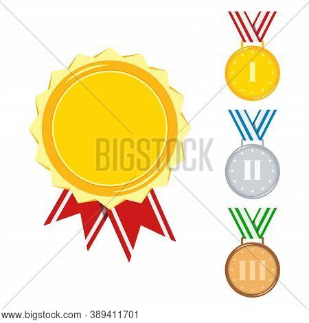 Medals Set Isolated On White Background. Golden, Silver, Bronze Medal With Red, Stripped, Blue, Gree