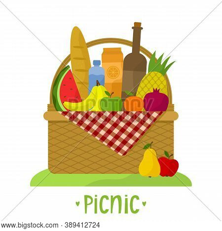 Wicker Picnic Basket With A Blanket. Vector Illustration With Food, Drinks And Phrase. Flat Style. I