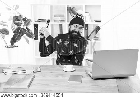 I Hate It. Crazy Man Hit Laptop With Hammer. Brutal Businessman With Crazy Look. Bearded Hipster In