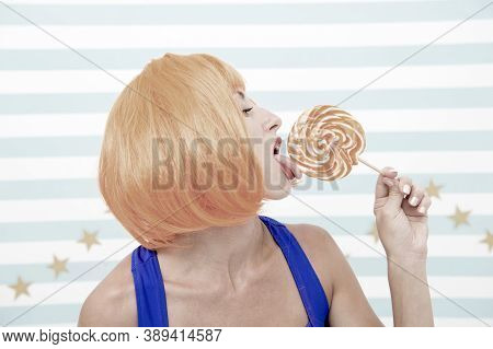 Sexy Crazy Woman Lick Lollipop. Desire. Crazy Woman Love Lollipop. Sexy Eating Candy. Just One Kiss.