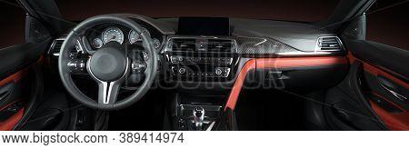 Modern Luxury Car Interior - Steering Wheel, Shift Lever And Dashboard. Car Interior Luxury.steering