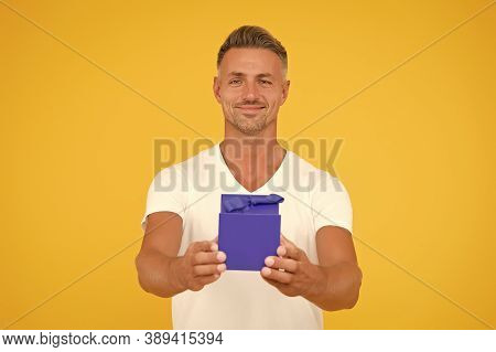 Happy Bachelor Day. Single Man Give Present Box. Happy Bachelor Yellow Background. Bachelor Party Gi