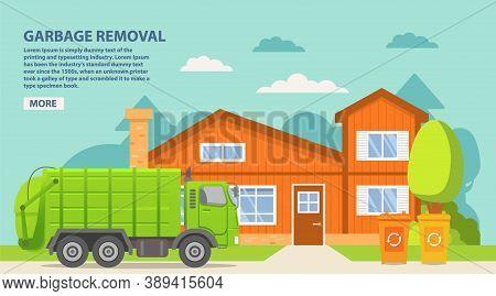 Garbage Truck.urban Sanitary Loader Truck.city Service.vector Illustration.