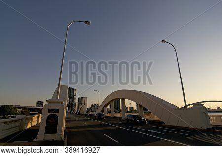 Brisbane, Qld, Australia - 3rd January 2020 : William Jolly Bridge During Sunset. The Bridge Is A He