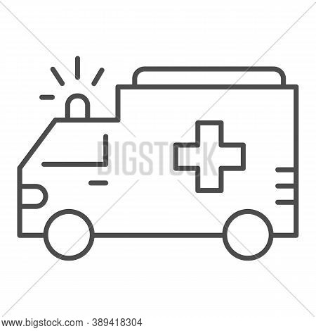 Ambulance Thin Line Icon, Public Transport Concept, First-aid Car Sign On White Background, Ambulanc