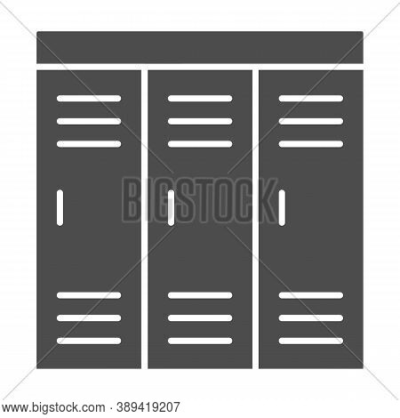 Gym Wardrobes Solid Icon, Gym Concept, Lockers Sign On White Background, Sport Dressing Room Icon In