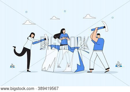 Ice Breaking Or Icebreaker Activity, Game And Event. Vector Artwork Of A Group Of People Using Sledg