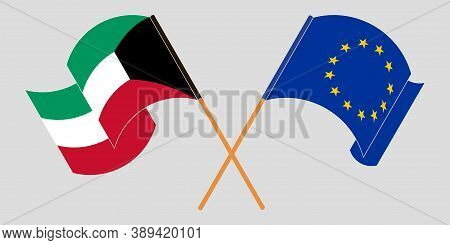 Crossed And Waving Flags Of Kuwait And The Eu. Vector Illustration