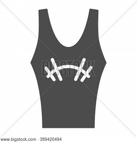 Athlete Jersey Solid Icon, Gym Concept, Sportswear For Gym Sign On White Background, Tank Top With B