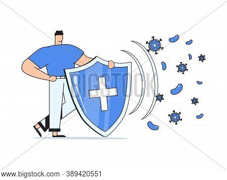 Immune System Vector Icon Logo. Health Bacteria Virus Protection. Medical Prevention Human Germ. Hea