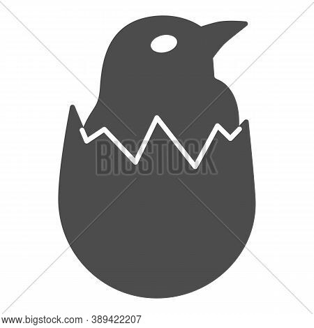 Chicken In Shell Solid Icon, Farm Birds Concept, Little Chick In Cracked Egg Sign On White Backgroun