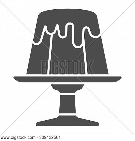 Chocolate Pudding Solid Icon, Chocolate Festival Concept, Birthday Cake Sign On White Background, Pu