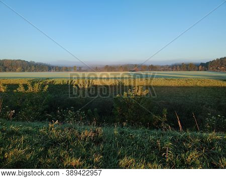 Landscape In The Fog, Trees, Fields, Autumn, Vintage Nature Background
