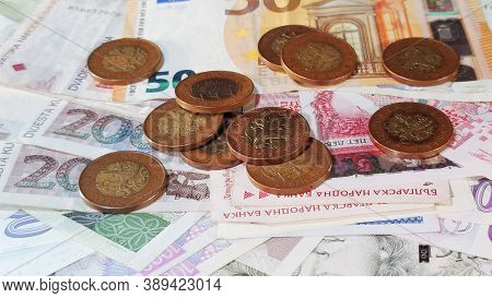 Money Coins And Banknotes,cash Money Background, Coronavirus Crisis