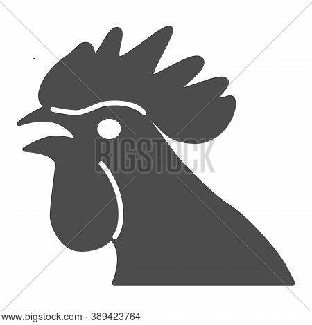 Rooster Head Solid Icon, Domestic Fowl Concept, Chicken Head Sign On White Background, Cock Silhouet