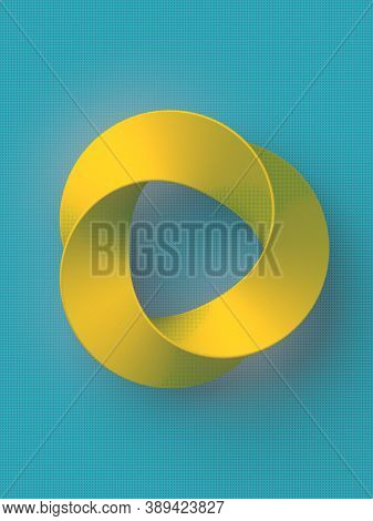 Impossible Yellow Circle Shape On Blue Background. Infinite Circular Figure. Optical Illusion. Inter