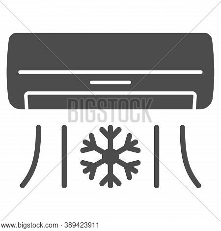 Air Conditioner Solid Icon, Gym Concept, Air Cooling With Snowflake Sign On White Background, Air Co