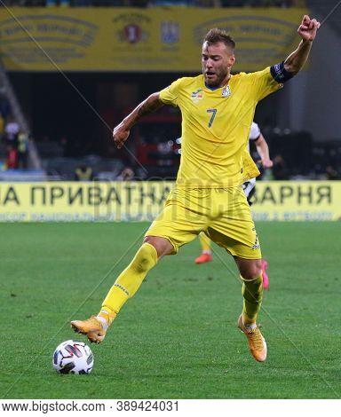 Kyiv, Ukraine - October 10, 2020: Andriy Yarmolenko Of Ukraine Controls A Ball During The Uefa Natio