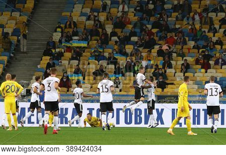 Kyiv, Ukraine - October 10, 2020: German Players Celebrate After Matthias Ginter Scored A Goal Durin