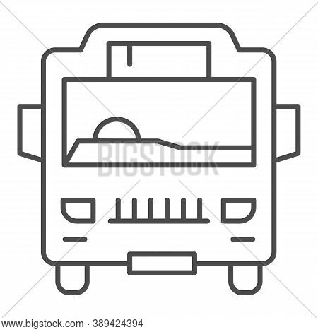 Shuttle Bus Thin Line Icon, Public Transport Concept, Autobus Sign On White Background, Bus Icon In